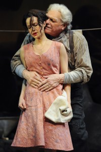 Carla Gugino (Abbie Putnam) and Brian Dennehy (Ephraim Cabot)