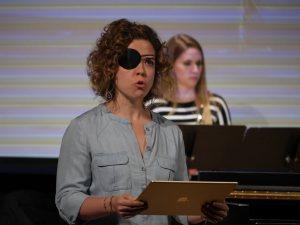 Soprano Justine Aronson performing Rzewski's Crusoe with Synchromy and HOCKET. Photo by Adam Borecki.
