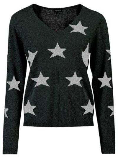 Bloomings dames V-neck pullover intarsia stars