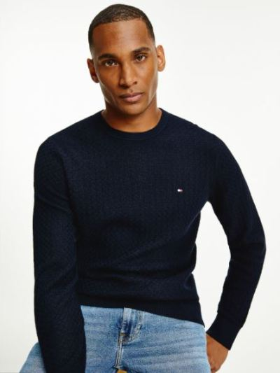 WEAVE STRUCTURED SWEATER Donkerblauw
