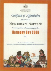 2006 Harmony Day Certificate of Appreciation Newcomers Network