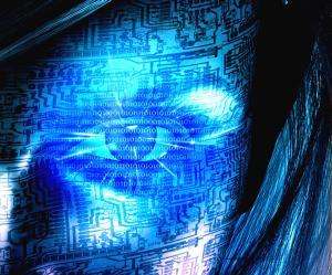 Blue face half human half machine