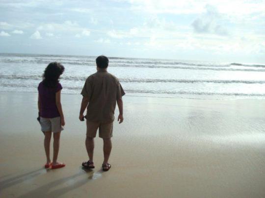 Joygopal enjoys the sea