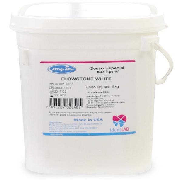 Gesso Pedra para base tipo IV flowstone whipmix 5kg Branco - Identlab