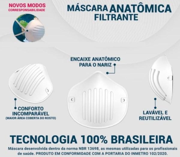 Máscara Semi Facial Lavável Filtrante 3