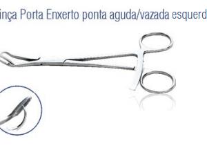 Pinça Porta Enxerto Ponta Aguda Vazada Esquerda -Harte