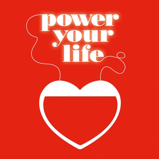 """power your life"" phrase at the top of a heart"