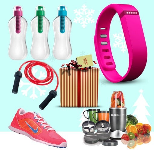 fitness products around a christmas present
