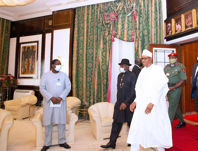 buhari, former president goodluck jonathan, other ecowas leaders meet over crisis in mali