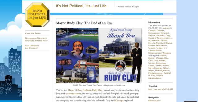"""Post from """"It's Not Political, It's Just Life,"""" about the late Mayor Rudy Clay of Gary, IN."""
