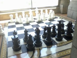 Giant chessboard at local university.