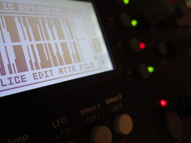 Photo of Morse Code source sample being manipulated heavily in Octatrack