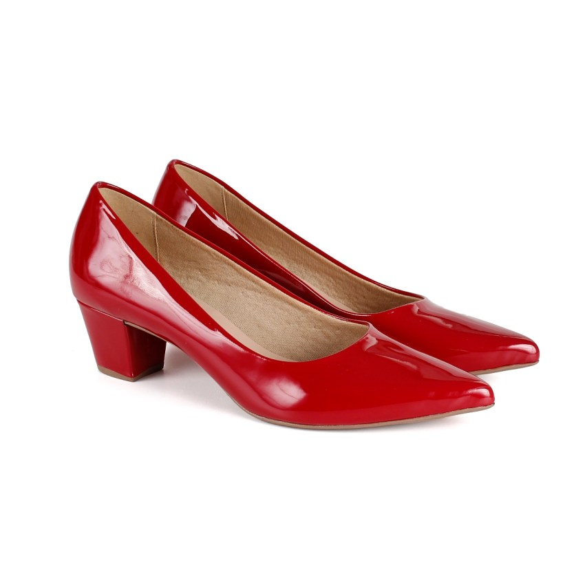 30e1461ce6 Scarpin Vermelho Salto Grosso Baixo - New Elegance
