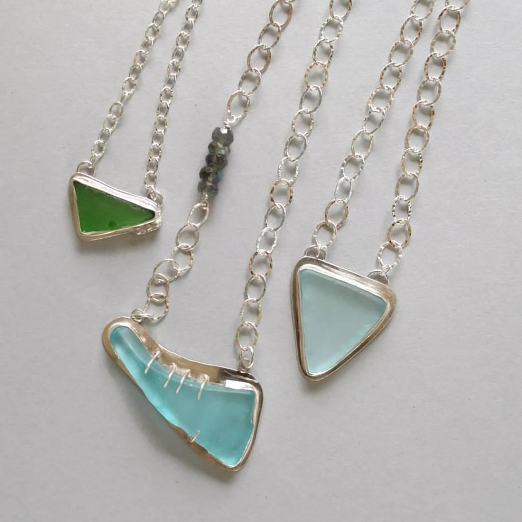 beach glass, sterling silver, boho chic, handmade jewelry