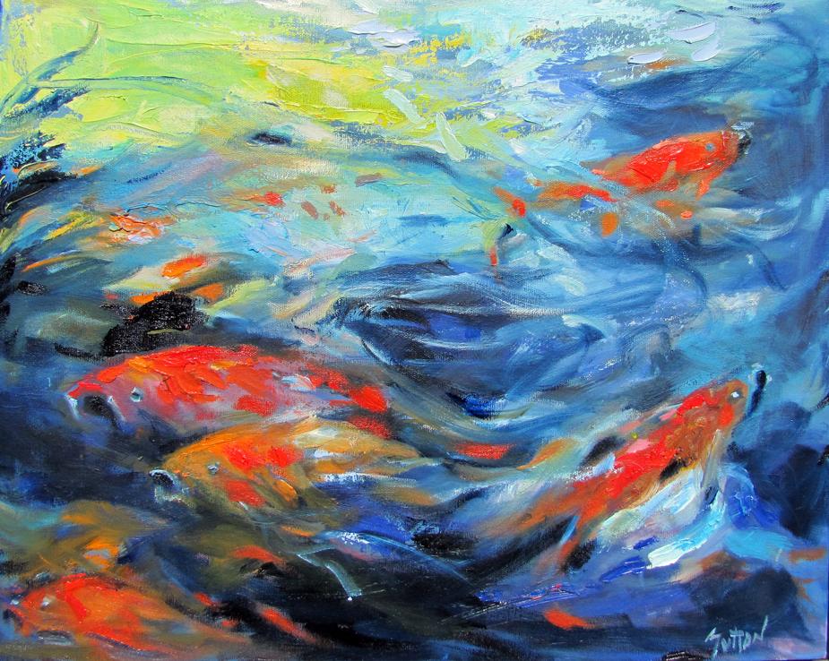 water, impressionist, koi, fish