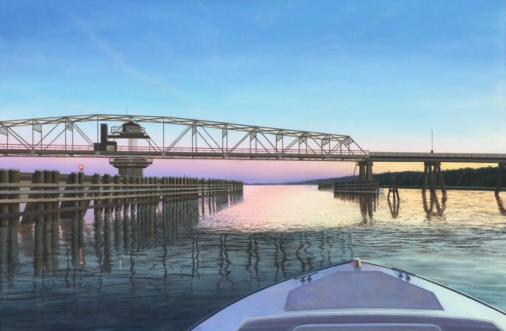 boat bow, figure 8 island, sunset, purples, blues