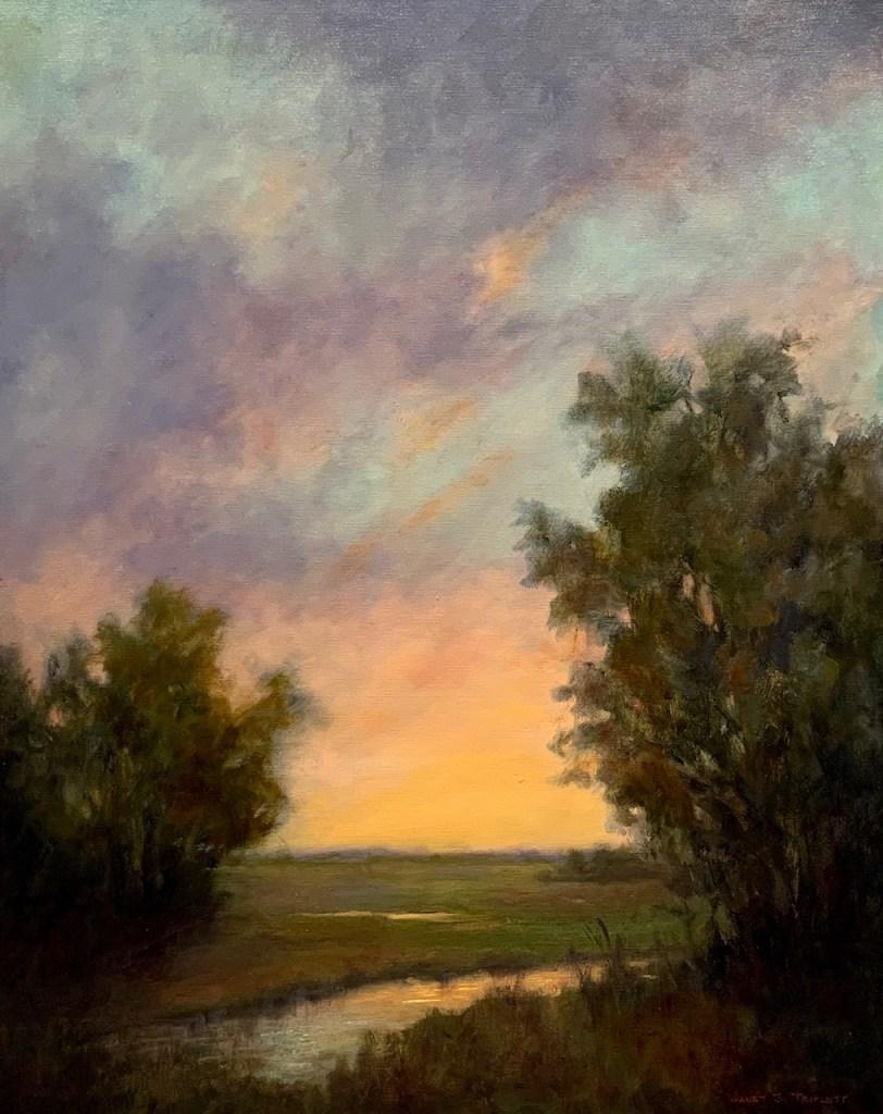 Oil, landscape, evening