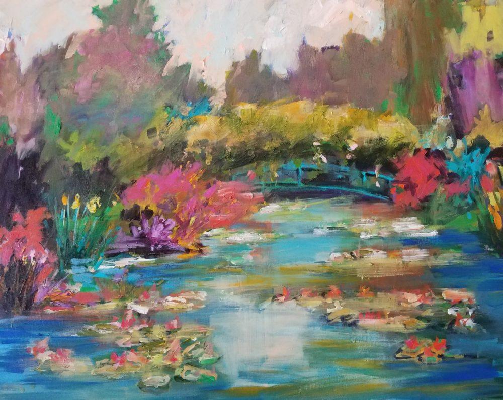 Giverny, French, landscape, acrylic