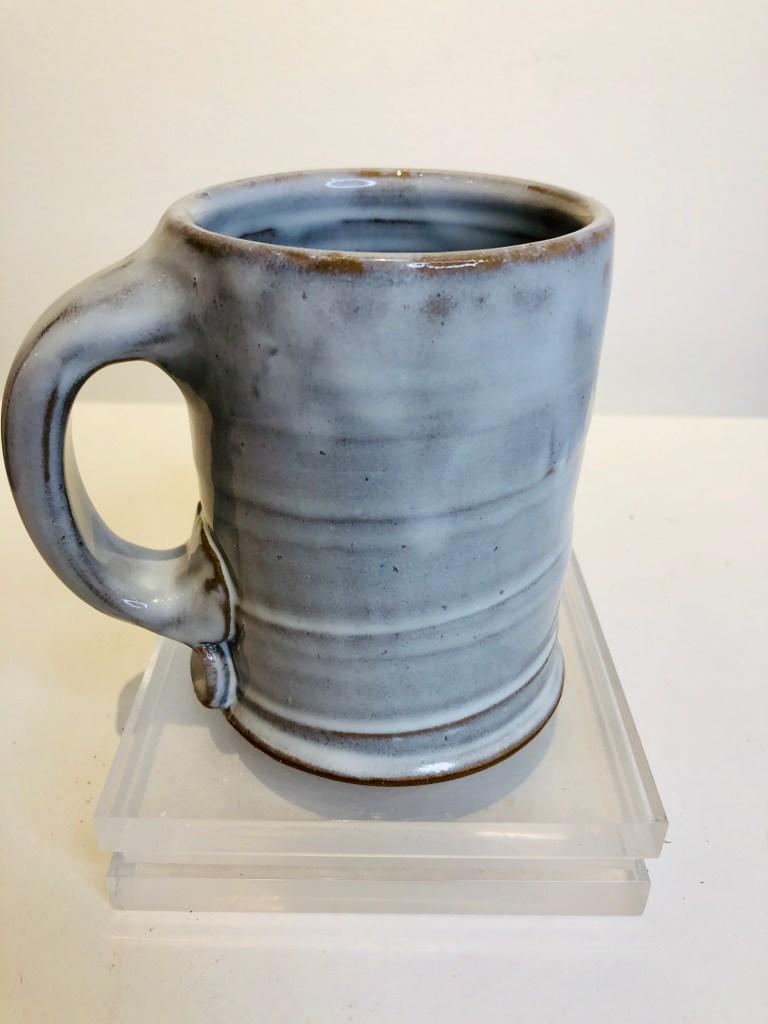 White washed glazed mug
