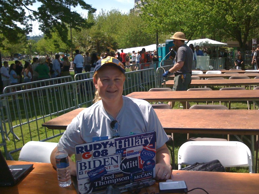 With my campaign sticker laptop in Portland Oregon. This time it was at a rally for Barack Obama. It was held outdoors on a hot sunny day.