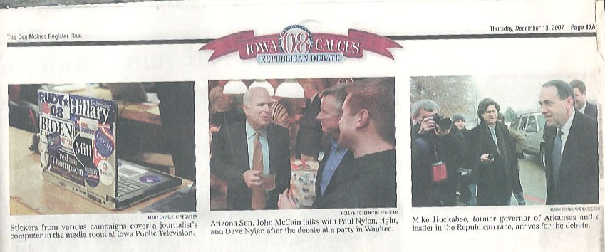 The Des Moines Register coverage of the Republican IPTV Debate in 2007. My sticker clad laptop made the news!