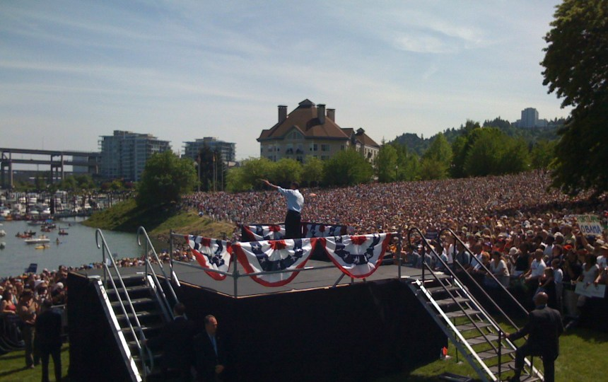 "Barack Obama in Portland. I later dubbed this photo when he became president as ""This Way to Unemployment"" as he predicted, unemployment reached 10% in his first 2 years. Took the photo on an Iphone on the Press riser."