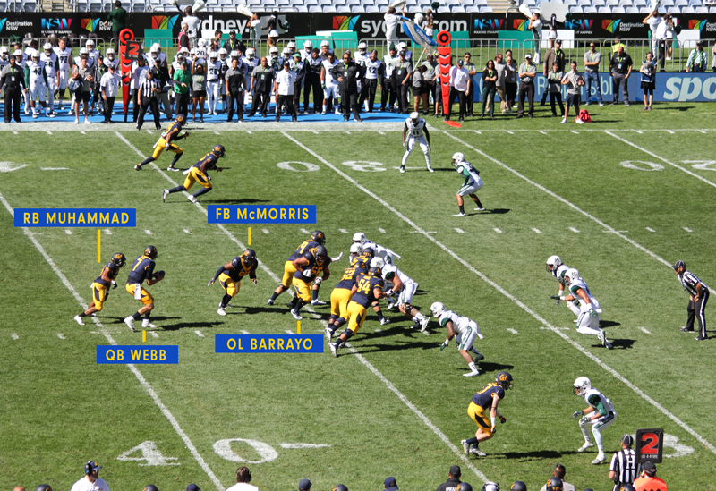 With a similar set up to their 4th down play Cal punch a hole through the Warriors D Photo& Graphics : Jodie Newell