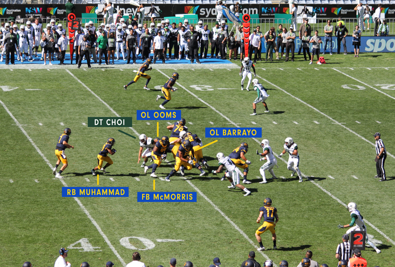 The Cal bears offensive line created a wide lane for Khalfani Muhammad to score a 34 yd TD for Cal. Photo: Jodie Newell