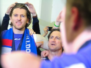 Marcus Bontempelli enjoying the Sons Of The West club song. Photo: Jodie Newell