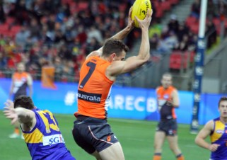 Brett Deledio takes a solid mark in the Giants forward area. Photo: Jodie Newell