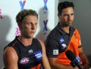 GWS Giants Lachie Whitfield & assistant coach Brad Miller. Photo: Jodie Newell