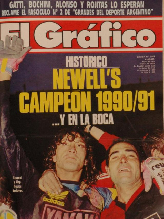 Famous magazine El Grafico features the 1990/91 champions, Newell's Old Boys.
