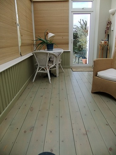 Green pastel limed wooden floor