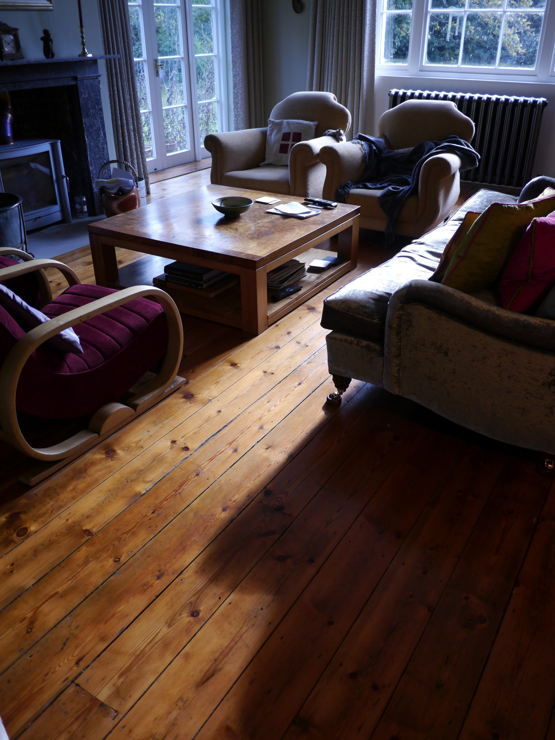 Georgian pine floor sanded and finished