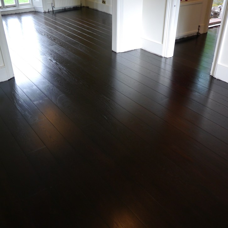Stained and finished oak floor