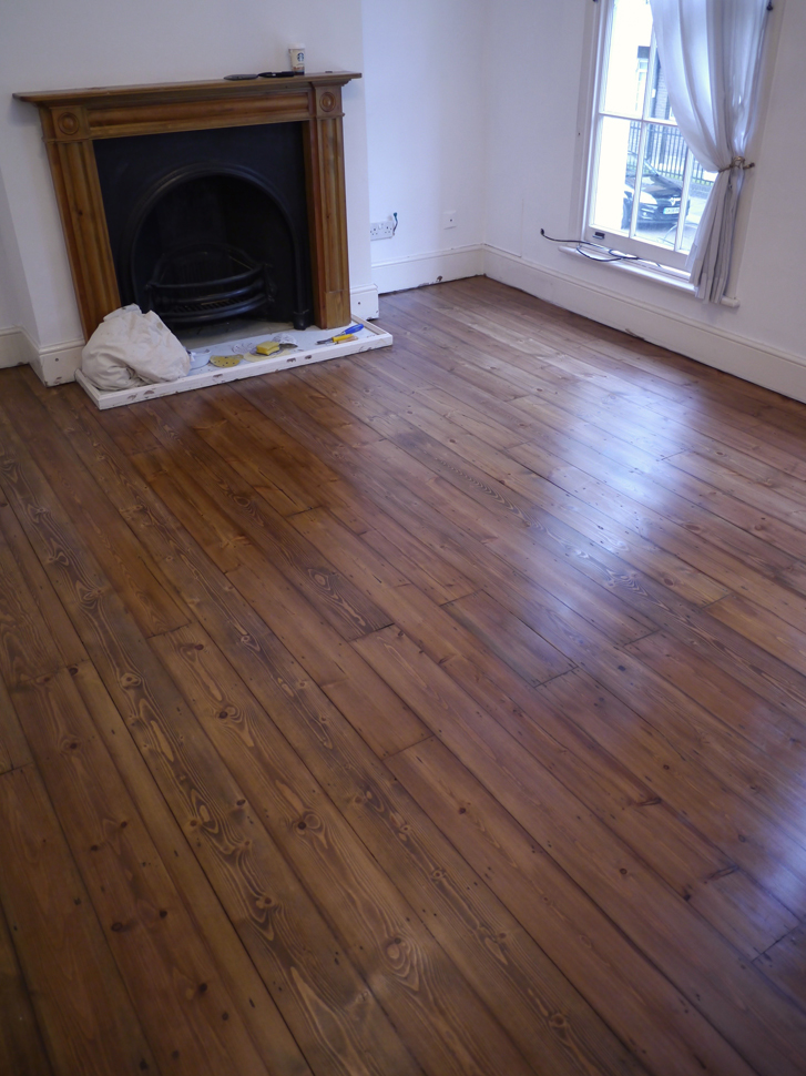 Pine floor stained mid brown