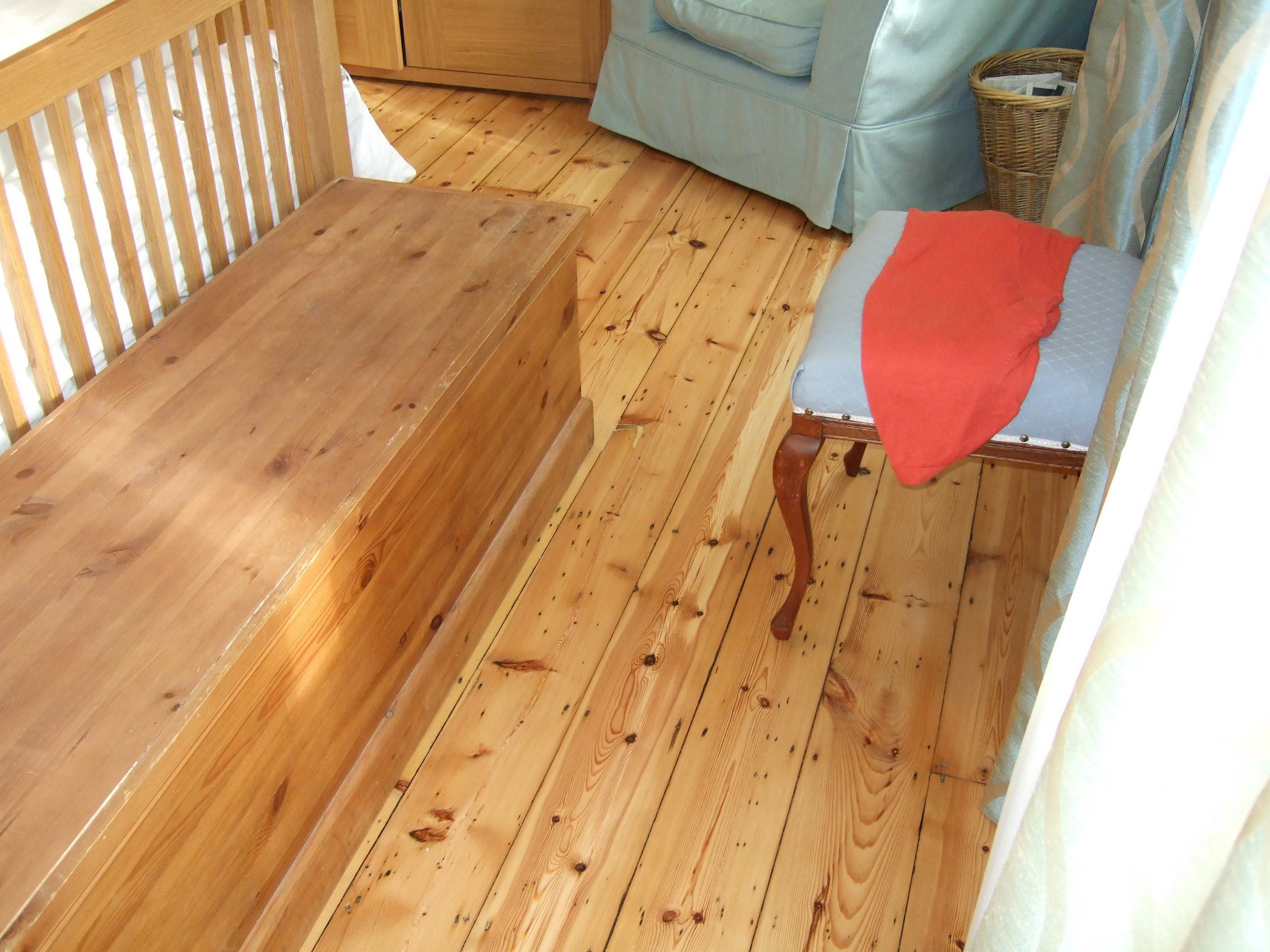 Wood Green sanded pine floor with light finish