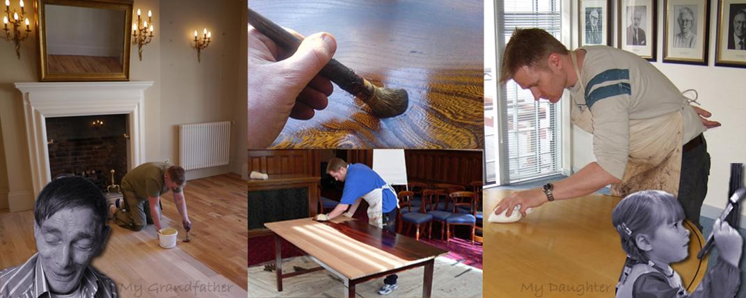 man wood finishing with traditional polishing brush