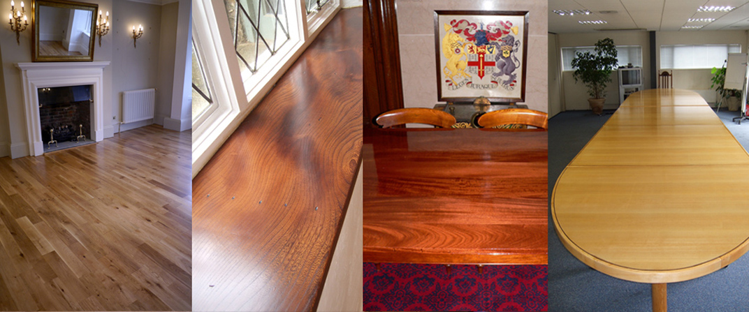wood floor, window cill and tables refinished