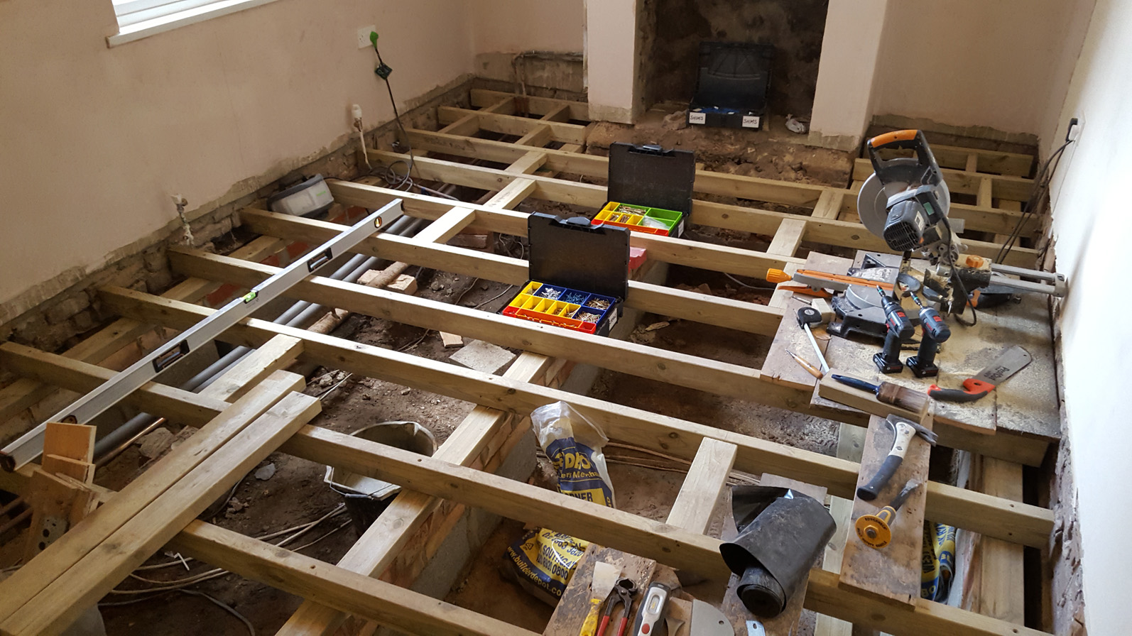 floor joists being relaid