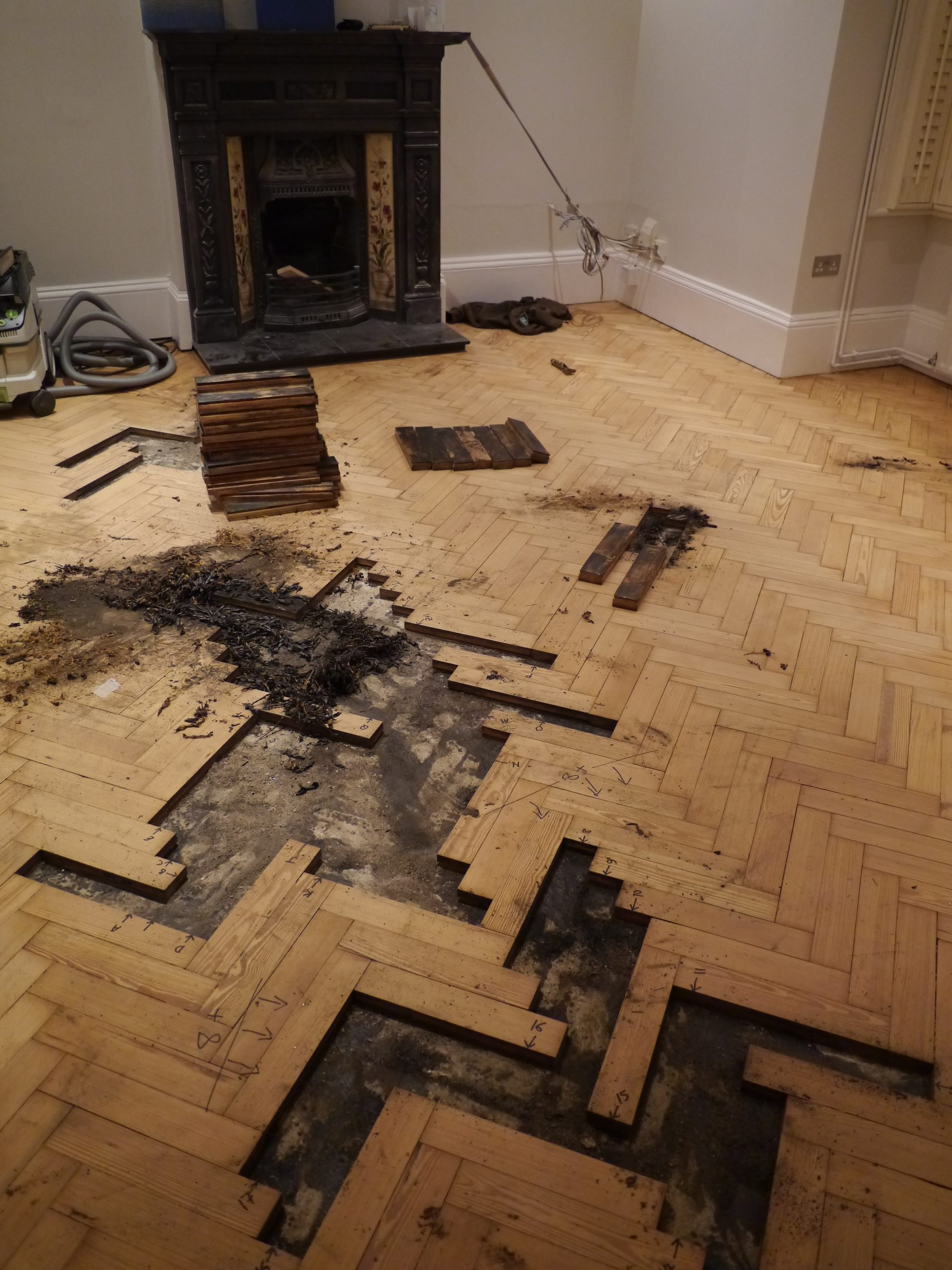 pitch pine herringbone parquet repair Wimbledon