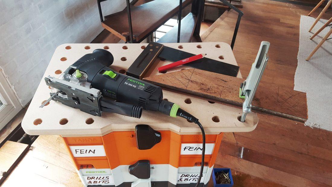 Festool MFT portable worktop and Festool Trion jigsaw repairing parquet floor