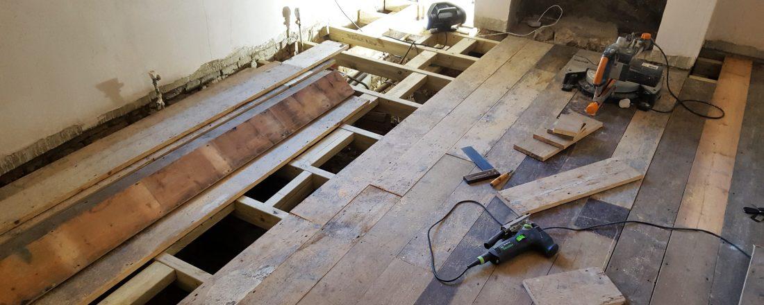 Fitting of reclaimed pine floor