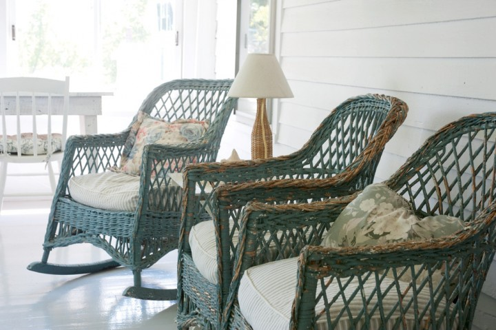 Wicker Furniture   New England s Gifts   New England Today Looking out toward the nearby barns and mountains  vintage wicker rocking  chairs grace the porch