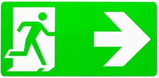 Neon green sign of person image exiting through a door. This image is meant to portray the withdrawer in Emotionally Focused Couples therapy.