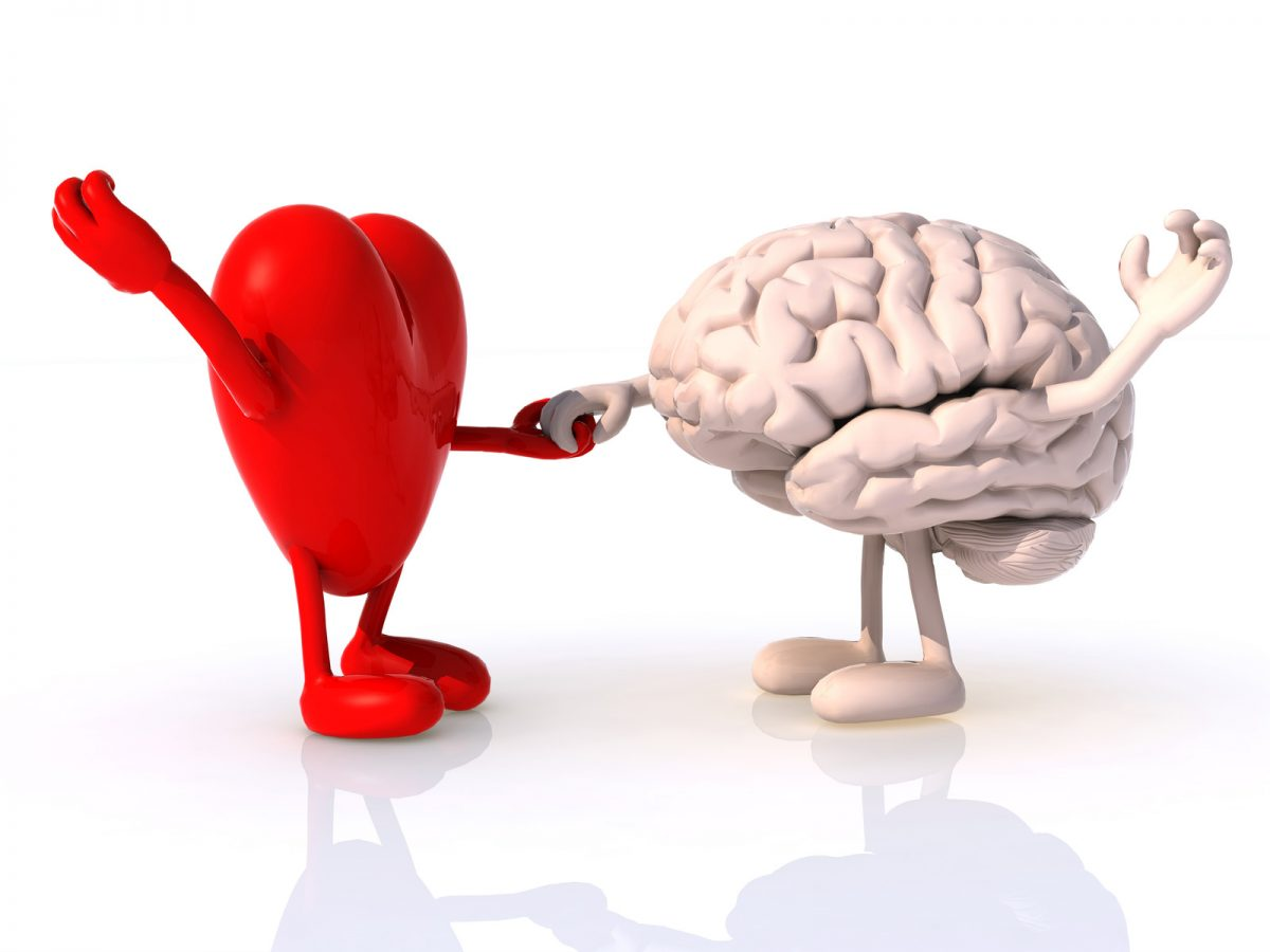 Heart and brain dancing together. This image is meant to portray the need for emotional connection and feeling alone in Massachusetts.
