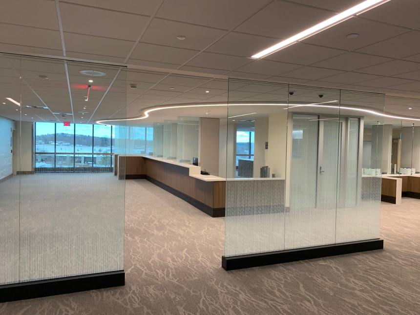Gradient Glass Film Used for Decor and Privacy in Boston Office - Decorative Window Films in the Boston, Massachusetts area.