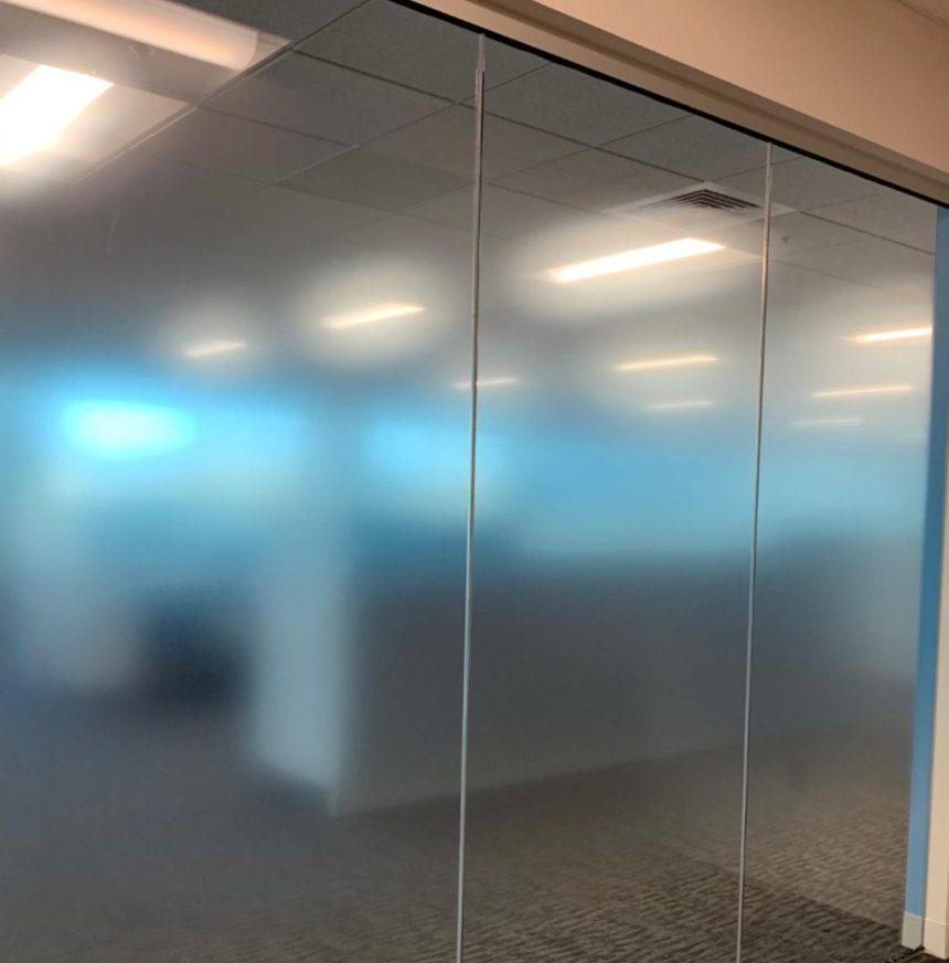 Custom Dual Gradient Decorative Glass Film Used in Boston Area Office - Custom Decorative Glass Films in the Boston, Massachusetts Area.