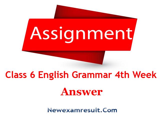 Class 6 English Grammar Assignment 4th Week Answer-English 2nd Paper