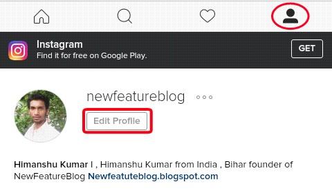 click on edit profile - nmewfeatureblog instagram